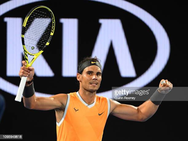 Rafael Nadal of Spain celebrates winning in his third round match against Alex De Minaur of Australia during day five of the 2019 Australian Open at...