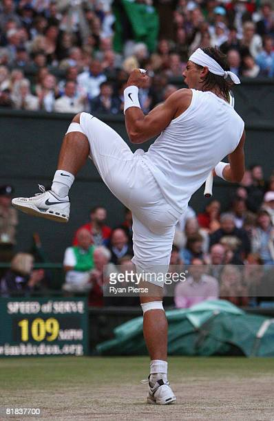 Rafael Nadal of Spain celebrates winning match point and the Championship during the men's singles Final match against Roger Federer of Switzerland...