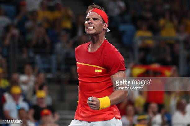 Rafael Nadal of Spain celebrates winning match point during his semifinal singles match against Alex de Minaur of Australia on day nine of the 2020...