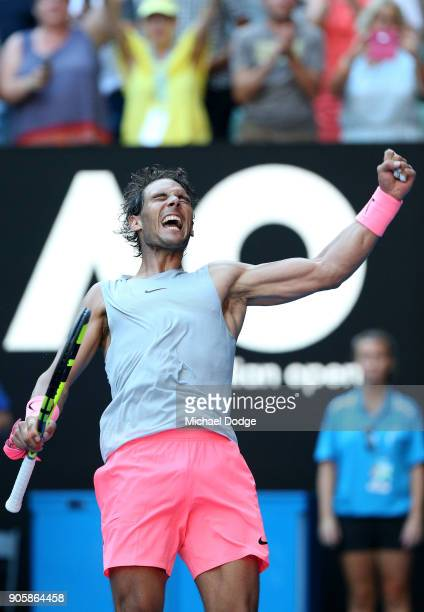 Rafael Nadal of Spain celebrates winning match point in his second round match against Leonardo Mayer of Argentina on day three of the 2018...