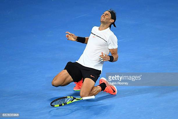 Rafael Nadal of Spain celebrates winning match point in his semifinal match against Grigor Dimitrov of Bulgaria on day 12 of the 2017 Australian Open...
