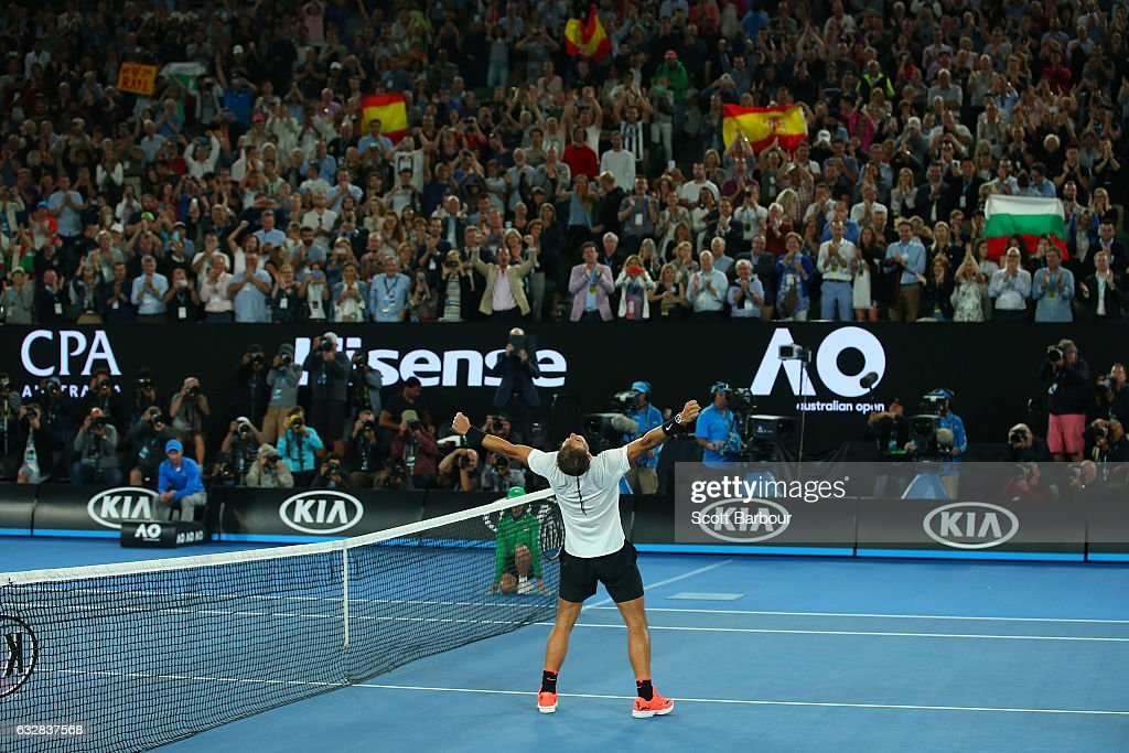 Rafael Nadal of Spain celebrates winning match point in his semifinal match against Grigor Dimitrov of Bulgaria on day 12 of the 2017 Australian Open at Melbourne Park on January 27, 2017 in Melbourne, Australia.