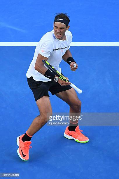 Rafael Nadal of Spain celebrates winning the fourth set in his third round match against Alexander Zverev of Germany on day six of the 2017...