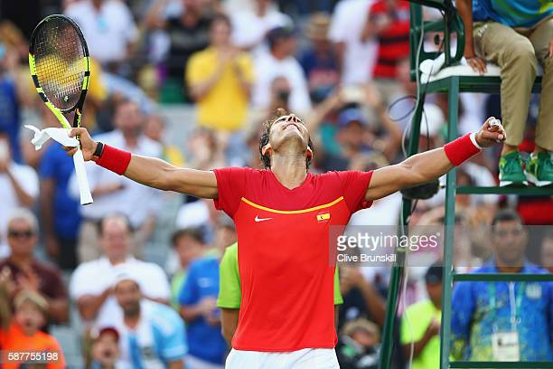 Rafael Nadal of Spain celebrates winning the men's second round single match against Andreas Seppi of Italy on Day 4 of the Rio 2016 Olympic Games at...