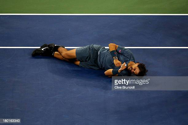 Rafael Nadal of Spain celebrates winning the men's singles final match against Novak Djokovic of Serbia on Day Fifteen of the 2013 US Open at the...