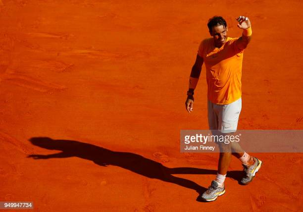 Rafael Nadal of Spain celebrates winning the Monte Carlo Rolex Masters final against Kei Nishikori of Japan during day eight of ATP Masters Series...