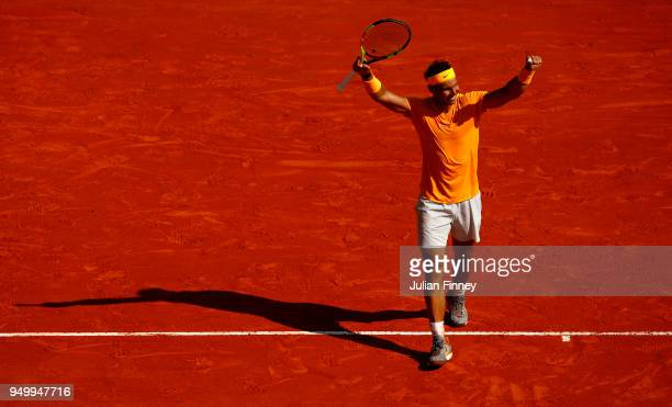Rafael Nadal of Spain celebrates winning the Monte Carlo Rolex Masters against Kei Nishikori of Japan during day eight of ATP Masters Series Monte...