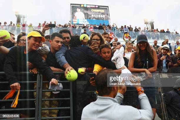 Rafael Nadal of Spain celebrates with the fans after victory in his Mens Final match against Alexander Zverev of Germany during day 8 of the...