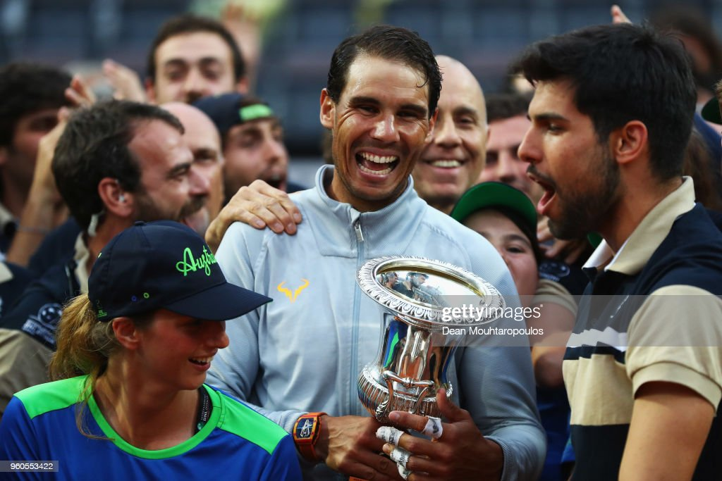 Rafael Nadal of Spain celebrates with the trophy after victory in his Mens Final match against Alexander Zverev of Germany during day 8 of the Internazionali BNL d'Italia 2018 tennis at Foro Italico on May 20, 2018 in Rome, Italy.