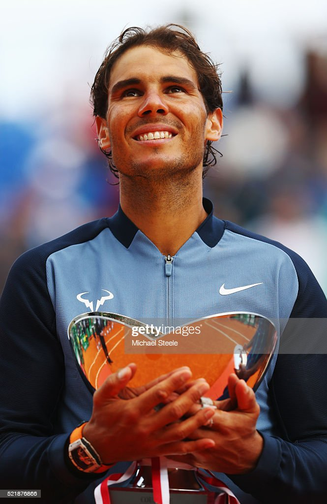 Rafael Nadal of Spain celebrates with the trophy after victory in the singles final match against Gael Monfils of France during day eight of the Monte Carlo Rolex Masters at Monte-Carlo Sporting Club on April 17, 2016 in Monte-Carlo, Monaco.