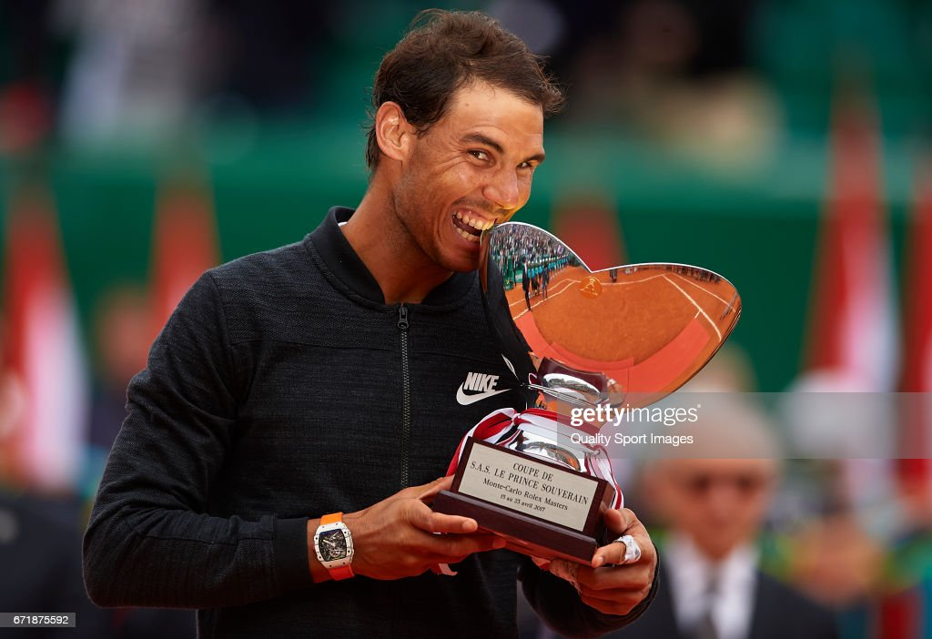 Rafael Nadal of Spain celebrates with the winner's trophy after defeating Albert Ramos-Vinolas of Spain in the final during day eight of the ATP Monte Carlo Rolex Masters Tennis at Monte-Carlo Sporting Club on April 23, 2017 in Monte-Carlo, Monaco.