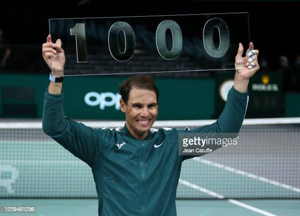 Rafael Nadal of Spain celebrates with this victory over Feliciano Lopez of Spain his 1000th victory on Tour during day 3 of the Rolex Paris Masters,...