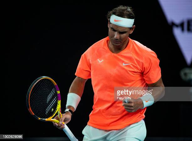 Rafael Nadal of Spain celerbates against Stefanos Tsitsipas of Greece during day 10 of the 2021 Australian Open at Melbourne Park on February 17,...