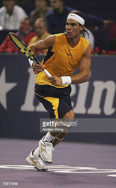 Rafael Nadal of Spain chases the ball during his match against James Blake of the USA during the round robin of the Tennis Masters Cup Shanghai on...