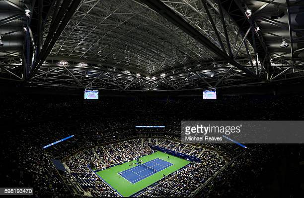 Rafael Nadal of Spain competes against Andreas Seppi of Italy during their second round Men's Singles match on Day Three of the 2016 US Open at the...
