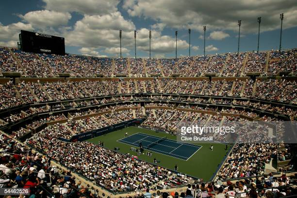 Rafael Nadal of Spain competes against James Blake in Arthur Ashe Stadium during the third round of the US Open at the USTA National Tennis Center in...