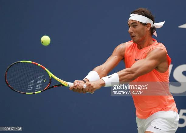Rafael Nadal of Spain competes against Nikoloz Basilashvili of Georgia during Day 7 of the 2018 US Open Men's Singles match at the USTA Billie Jean...