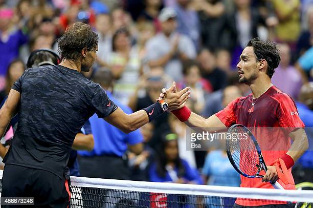 Rafael Nadal of Spain congratulates Fabio Fognini of Italy after Fognini won on Day Five of the 2015 US Open at the USTA Billie Jean King National...