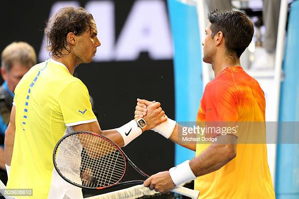 Rafael Nadal of Spain congratulates Fernando Verdasco of Spain on winning their first round match during day two of the 2016 Australian Open at...