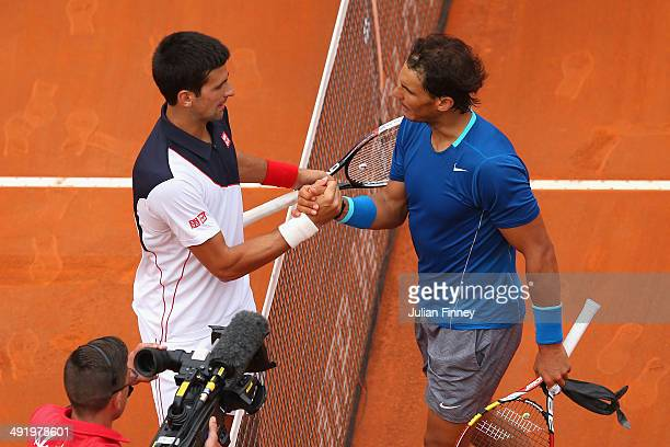 Rafael Nadal of Spain congratulates Novak Djokovic of Serbia after winning in the final during day eight of the Internazionali BNL d'Italia tennis...