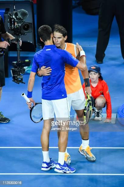 Rafael Nadal of Spain congratulating Novak Djokovic of Serbia after winning the Men's Singles Final match between Novak Djokovic of Serbia and Rafael...