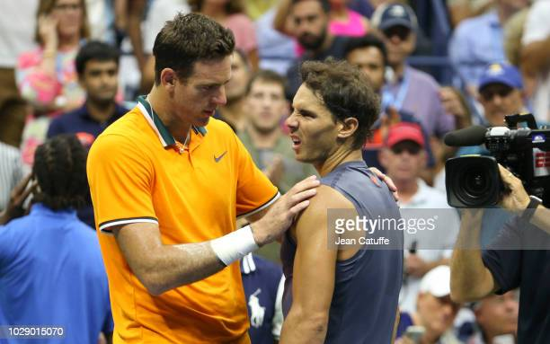 Rafael Nadal of Spain defaults after losing the first 2 sets against Juan Martin Del Potro of Argentina during their semifinal on day 12 of the 2018...