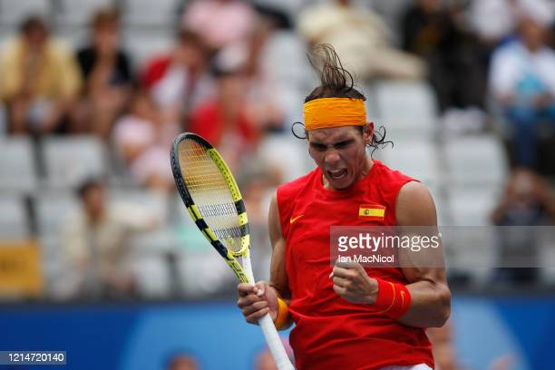 Rafael Nadal of Spain defeats Potito Starace of Italy in the first round of the mens singles during The Beijing Olympic Games on August 11 2008 in...