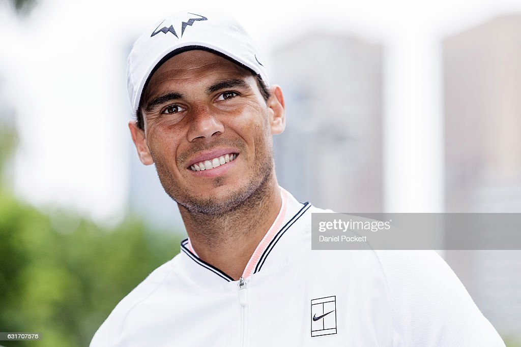 Rafael Nadal of Spain during a Kia Key handover ceremony at Garden Square in Melbourne Park January 15, 2017 in Melbourne, Australia.