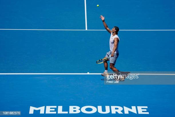 Rafael Nadal of Spain during a practice session ahead of the 2019 Australian Open at Melbourne Park on January 13 2019 in Melbourne Australia