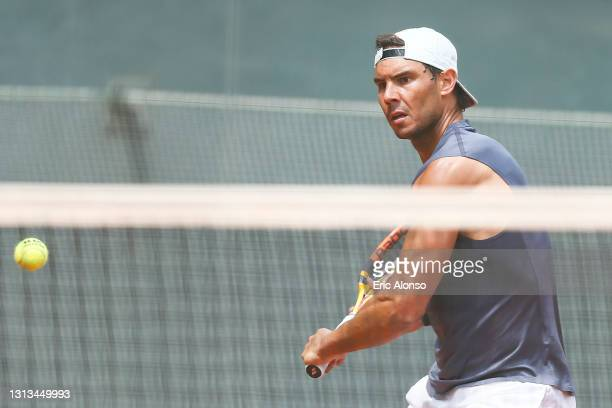 Rafael Nadal of Spain during a training session on day two of the Barcelona Open Banc Sabadell 2021 at Real Club De Tenis Barcelona on April 20, 2021...