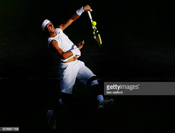 Rafael Nadal of Spain during his 3rd Round match against Nicolas Kiefer of Germany on Day 6 of the 2008 Wimbledon Championships at the All England...