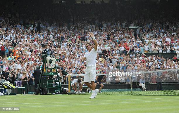 Rafael Nadal of Spain during his second round match against Robin Hasse of the Netherlands on Day Four of the 2010 Wimbledon Tennis Championships at...
