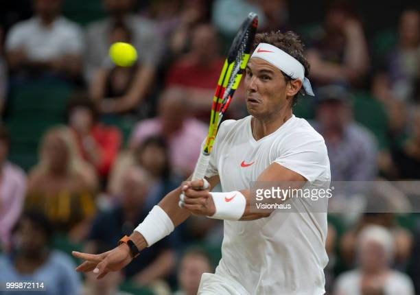 Rafael Nadal of Spain during his semifinal match against Novak Djokovic of Serbia on day eleven of the Wimbledon Lawn Tennis Championships at the All...