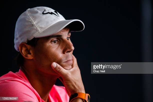 Rafael Nadal of Spain during pre-tournament player media conference ahead of the 2020 Australian Open at Melbourne Park on January 18, 2020 in...