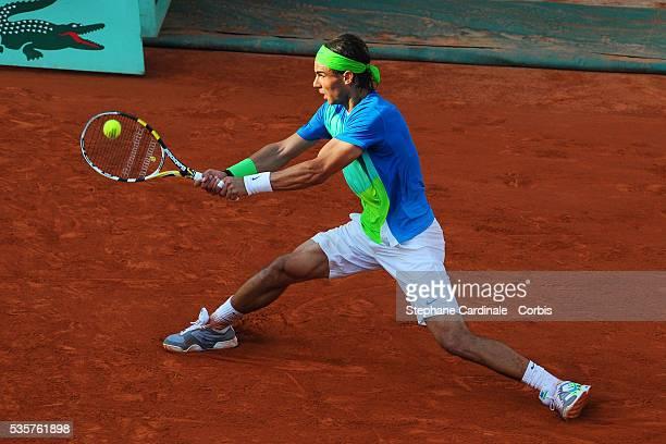 Rafael Nadal of Spain during the men's singles semi final match between Rafael Nadal of Spain and Jurgen Melzer of Austria on day thirteen of the...