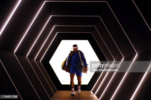 Rafael Nadal of Spain enters the court to play in his match against Jo-Wilfried Tsonga of France on day 5 of the Rolex Paris Masters, part of the ATP...