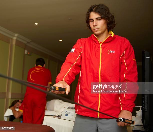 Rafael Nadal of Spain excercises in his hotel after a practice session on court in preparation for the Davis Cup World Group First Round tie between...