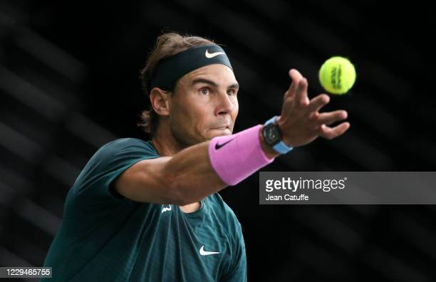 Rafael Nadal of Spain facing Feliciano Lopez of Spain during day 3 of the Rolex Paris Masters, an ATP Masters 1000 tournament held behind closed...