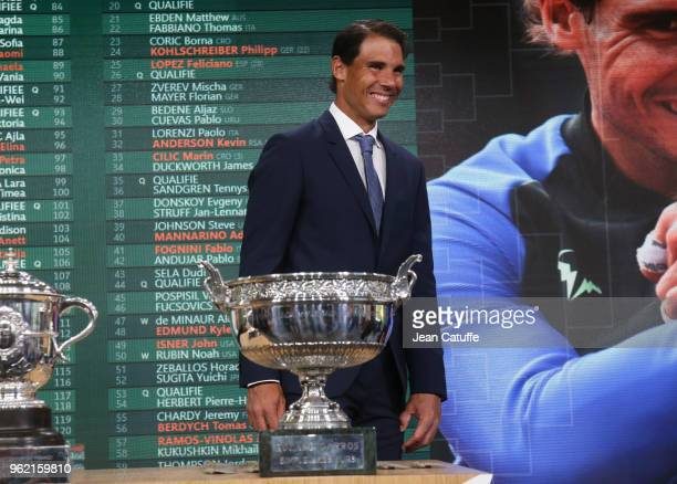 Rafael Nadal of Spain following the draws of the 2018 French Open at Roland Garros stadium on May 24 2018 in Paris France