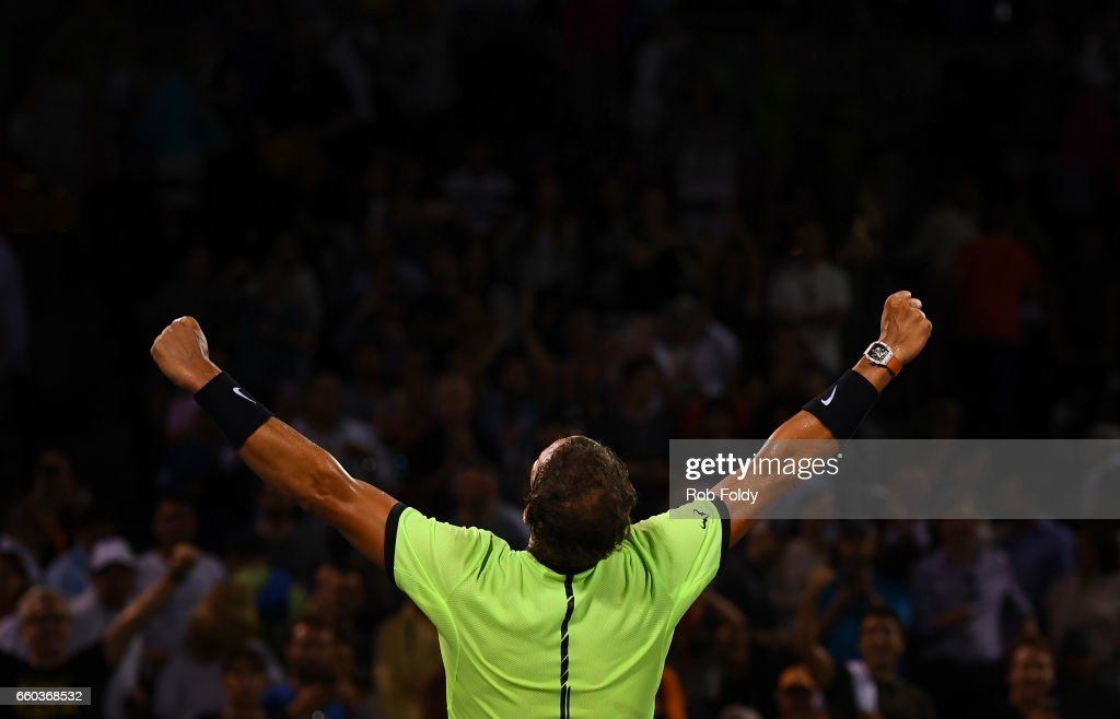 Rafael Nadal of Spain gestures after winning the match against Jack Sock at Crandon Park Tennis Center on March 29, 2017 in Key Biscayne, Florida.