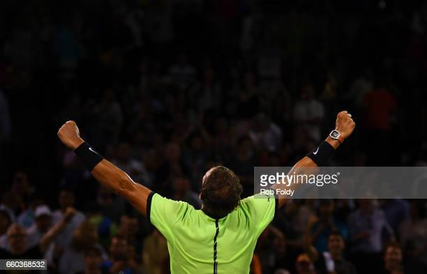 Rafael Nadal of Spain gestures after winning the match against Jack Sock at Crandon Park Tennis Center on March 29 2017 in Key Biscayne Florida
