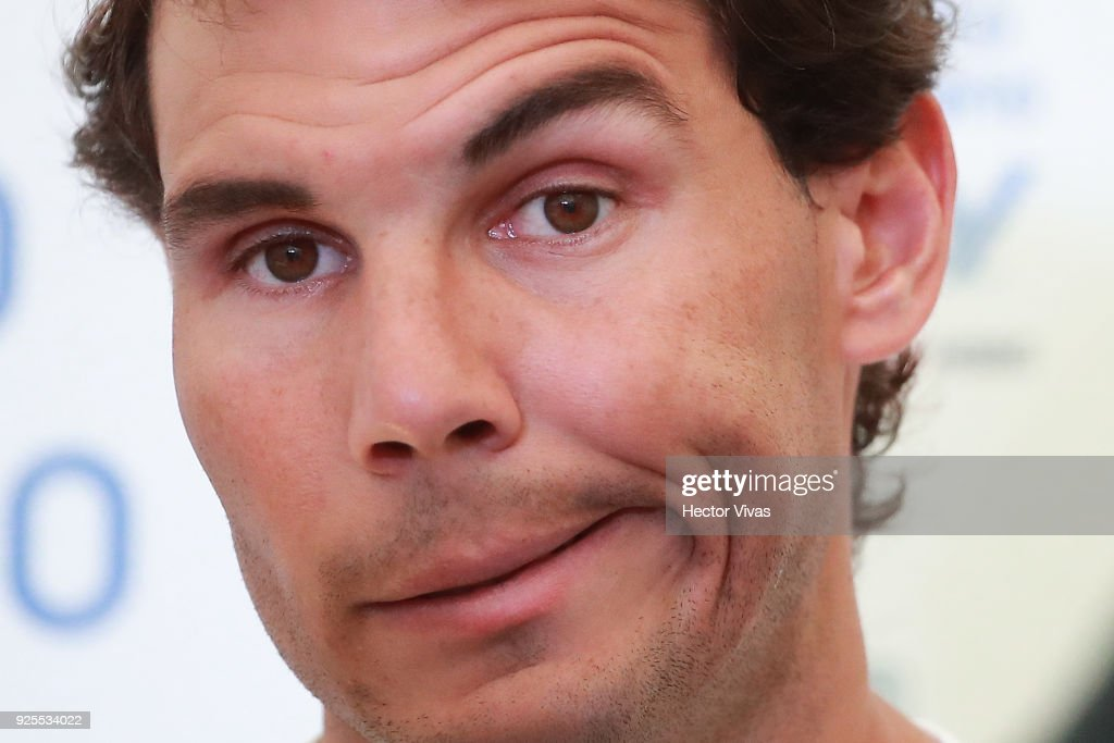 Rafael Nadal of Spain gestures during a press conference to announce his retirement from the Telcel Mexican Open 2018 at Mextenis Stadium on February 27, 2018 in Acapulco, Mexico.