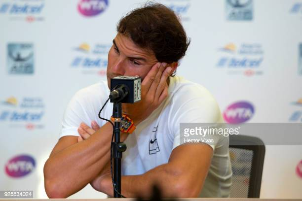Rafael Nadal of Spain gestures during a press conference to announce his retirement from the Telcel Mexican Open 2018 at Mextenis Stadium on February...