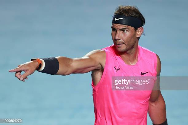 Rafael Nadal of Spain gestures during the singles match against Taylor Fritz of the United States during Day 6 of the ATP Mexican Open at Princess...