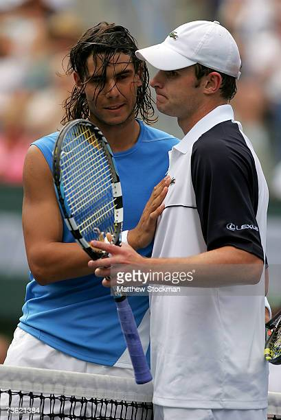 Rafael Nadal of Spain greets Andy Roddick at the net after Nadal won their semifinal match in the Pacific Life Open on March 17 2007 at the Indian...