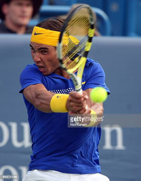 Rafael Nadal of Spain hits a backhand against Andreas Seppi of Italy during day three of the Western Southern Financial Group Masters on August 19...