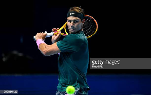 Rafael Nadal of Spain hits a backhand against Andrey Rublev of Russia during Day 1 of the Nitto ATP World Tour Finals at The O2 Arena on November 15,...