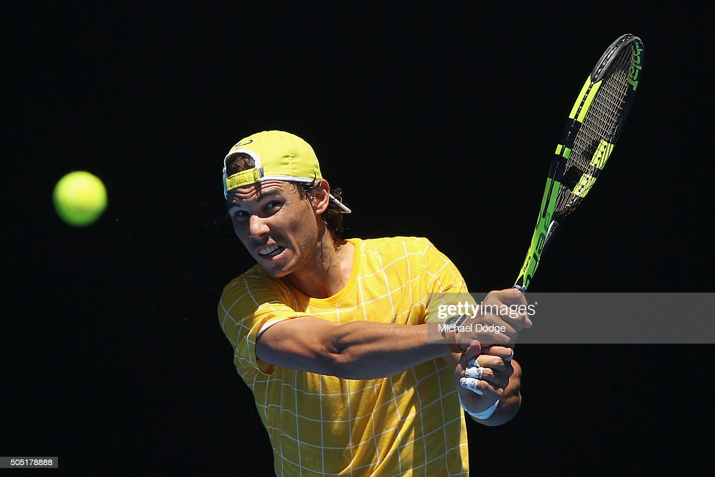 Rafael Nadal of Spain hits a backhand during a practice session ahead of the 2016 Australian Open at Melbourne Park on January 16, 2016 in Melbourne, Australia.
