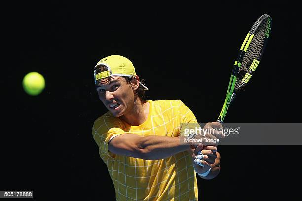 Rafael Nadal of Spain hits a backhand during a practice session ahead of the 2016 Australian Open at Melbourne Park on January 16 2016 in Melbourne...