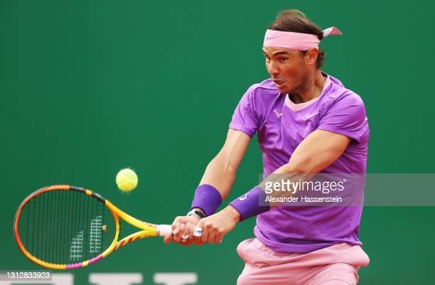 Rafael Nadal of Spain hits a backhand during his match against Andrey Rublev of Russia during day six of the Rolex Monte-Carlo Masters at Monte-Carlo...